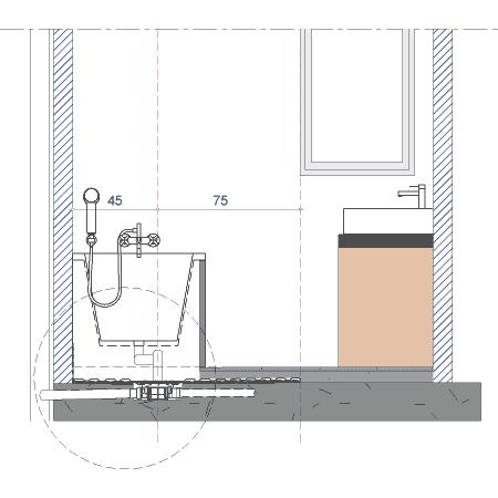 Solutions sols de douches handicap salle de bain for Hauteur carrelage salle de bain